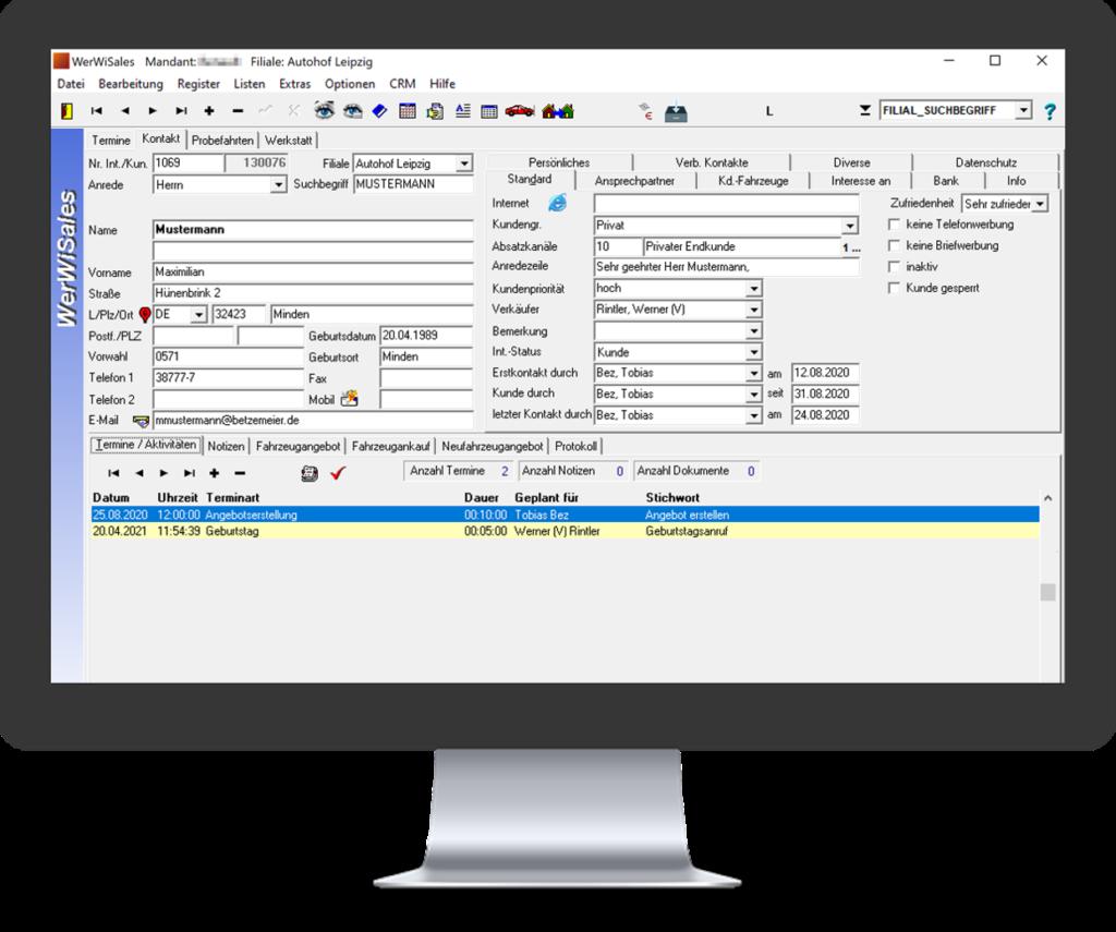 Autohaus Crm zur Verwaltung der Kundendaten